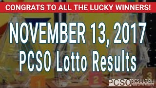 Download PCSO Lotto Results Today November 13, 2017 (6/55, 6/45, 4D, Swertres & EZ2) Video