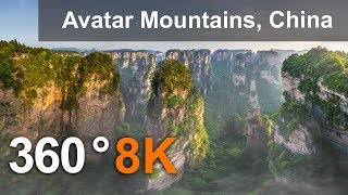 Download 360 video, Avatar Mountains, Zhangjiajie National Park, China. 8K aerial video Video