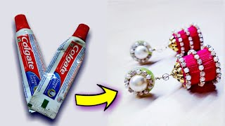 Download टुथपेस्ट के खाली पॅकेट्स से बनाये सुंदर झुमके||how to make earrings||best out of waste Video