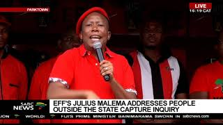 Download Malema addresses EFF supporters outside State Capture Inquiry Video