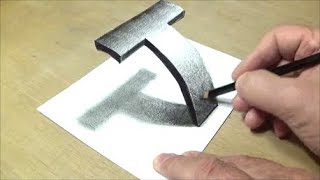 Download Very Easy - Drawing 3D Letter T - Trick Art with Pencil - By Vamos Video