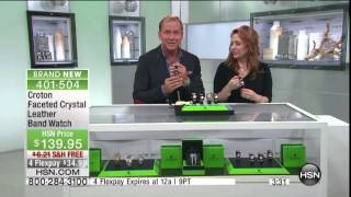 Download Croton Faceted Crystal CrocoEmbossed Leather Band Watch Video
