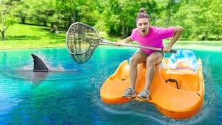 Download Capturing Mystery Pond Monster Creature in Sharer Family Backyard!! (Escapes Underwater Cage) Video