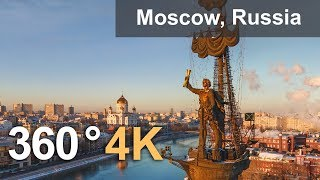 Download 360 video of Moscow. Capital of Russia from above. 4K aerial video Video