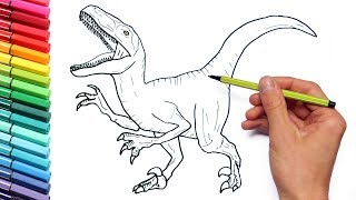 Download Drawing and Coloring Velociraptor Jurassic World - Dinosaurs Coloring Page For Children Video