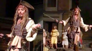 Download JOHNNY DEPP AT DISNEYLAND AS CAPTAIN JACK SPARROW! | Johnny Depp Disneyland Video