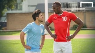 Download Usain Bolt speeds up Aguero ahead of Manchester derby Video