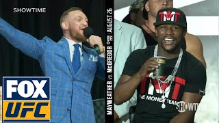 Download Conor McGregor on Floyd Mayweather wearing a schoolbag 'You can't even read' | TOR | UFC ON FOX Video