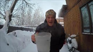 Download Throwing water into the air at -52 below zero in fairbanks Alaska Video