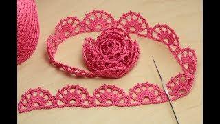 Download Безотрывное вязание - кайма для ирландского кружева ЛЕНТОЧНОЕ КРУЖЕВО Crochet ribbon lace Video