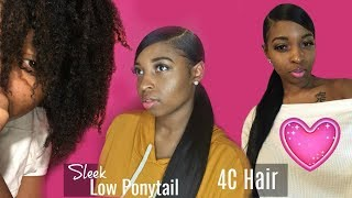 Download Low SLEEK PONYTAIL on 4C hair | Protective Style *DETAILED* Video
