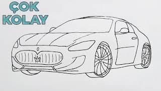 Download Basit Araba Çizimi - Maserati Çizimi - Harika Bir Araba Çizimi - How to Draw Maserati Video