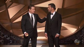 Download Matt Damon Confronts Jimmy Kimmel After Emmys Loss Video