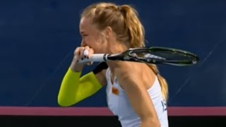 Download Tennis Player Can't stop laughing at the opposite player mistake Video