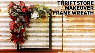 Download Making a DIY Farmhouse Christmas Picture Frame Wreath - Thrift Store Makeover - Christmas 2019 Video