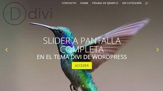 Download Carrusel a pantalla completa en Divi de WordPress. Fullscreen Slider Video
