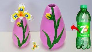 Download Stylist flower vase making at home // Plastic bottle flower vase and clay flower Video