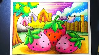Download menggambar dan mewarnai strawberry dengan gradasi Crayon / oilpastel | Drawing strawberry Video