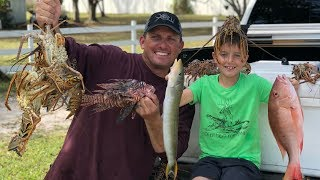 Download Lobster, LIONFISH and Sand Tilefish {Catch Clean Cook} Seafood Hibachi Video