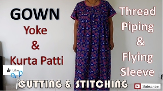 Download Gown / Nighty | Thread Piping | Flying Sleeve | How To Sewing Tutorial | Diy Video