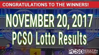 Download PCSO Lotto Results Today November 20, 2017 (6/55, 6/45, 4D, Swertres & EZ2) Video