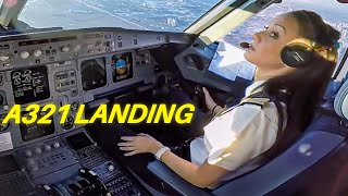 Download Beautiful FEMALE PILOT LANDING Airbus A321 Passenger Jet ► ►Cockpit View!! Video