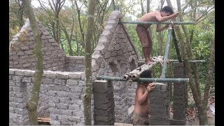 Download Primitive technology with survival skills Wilderness build house Roman part 7 Video