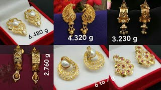 Download Latest light weight gold Earring designs with weight Video