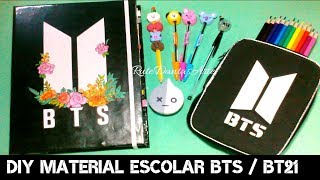 Download DIY BTS/BT21: Fichário Completo, Caneta Lightstick BTS, Ponteira e Apontador BT21, Estojo E+ Video