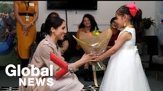 Download Prince Harry and Meghan visit charity with New Zealand PM Video