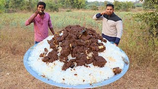 Download MUTTON RICE COOKING AND EATING IN THE WILD | TASTIEST GOAT MEAT RECIPE | RICE RECIPE | Video