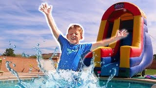 Download Giant Super Slide! Inflatable Slide Backyard Pool Party Playground! Video