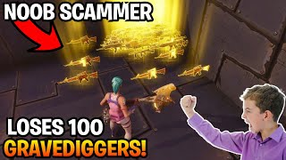 Download Dumb Noob Loses 100 gravediggers! (Scammer Gets Scammed) Fortnite Save The World Video