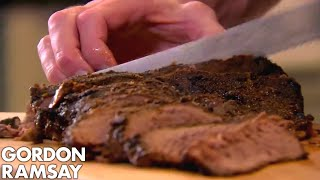 Download BBQ Brisket with Crunchy Coleslaw & Sweet Potato Wedges | Gordon Ramsay Video
