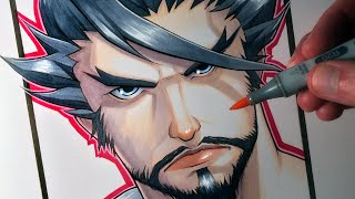 Download Let's Draw Hanzo Shimada from Overwatch - FAN ART FRIDAY Video