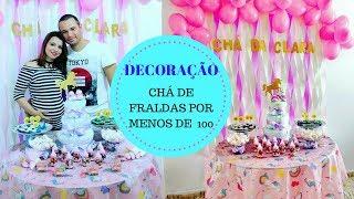 Download CHÁ DE FRALDAS SIMPLES E BARATO por menos de R$ 100 : DIY DECORAÇÃO UNICÓRNIO Video