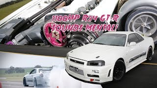 Download Mental 1100whp R34 Skyline GT-R dominates Runway Thrash - Into the 8s with a manual! Video