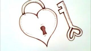 Download como dibujar un corazon con una llave | como dibujar un corazon Video