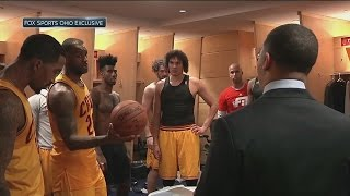 Download LeBron James gives game ball to Cleveland Cavaliers head coach Tyronn Lue Video