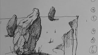 Pen & Ink Drawing Tutorials | How to draw rocks, stones and boulders