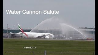 Download Spectacular Water Canon Salute Boeing 777 300 ER Emirates Airline Stansted Airport Video