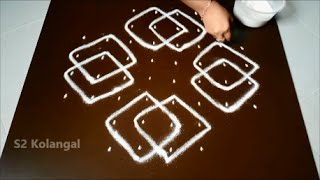 Download Simple sikku kolam with 8 to 4 Straight dots. Video