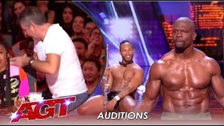 Download Simon Cowell STORMS Off After Terry Crews Joins Flute Stripping Act | America's Got Talent 2019 Video