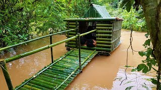 Download Building House On Water Using Bamboo And Mud - River House Video
