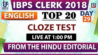 Download Top 20 | Cloze Test | IBPS Clerk 2018 | English | Day 29 | 1:00 pm Video