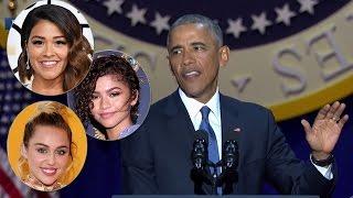 Download Celebs React To President Obama's EMOTIONAL Farewell Speech - Where was Sasha? Video