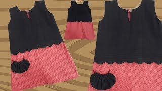 Download Stylish and Designer baby frock with pocket // by simple cutting Video