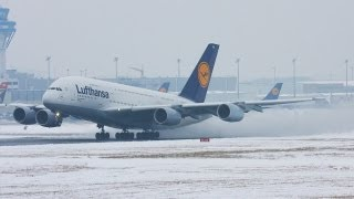 Download Airbus A380 Snow departure. Lufthansa A 380 creating a snow storm (HD) Video
