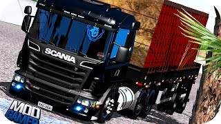 Download SCANIA R440 COM SUSPENSÃO A AR - NA GRANEL 2 EIXOS - DIAMANTE NEGRO - EURO TRUCK 2 - (Logitech G29) Video