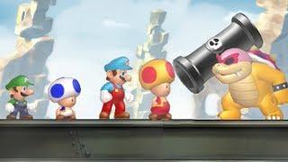 Download New Super Mario Bros U - All Castle Bosses (4 Players) Video